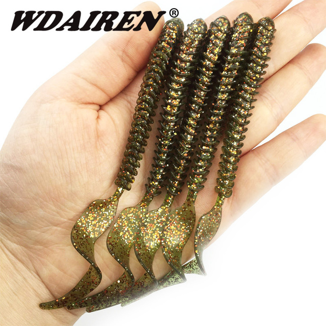 5Pcs/lot Spiral Long Curly Tail Soft Lure 10cm 3g Rubber worm Fishing Lures Artificial Silicone Bait Bass Fishing tackle FA-410