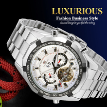 Forsining Automatic Dress Wristwatch Big Dial Mechanical Watches with Stainless Steel Band for Men Gift Box