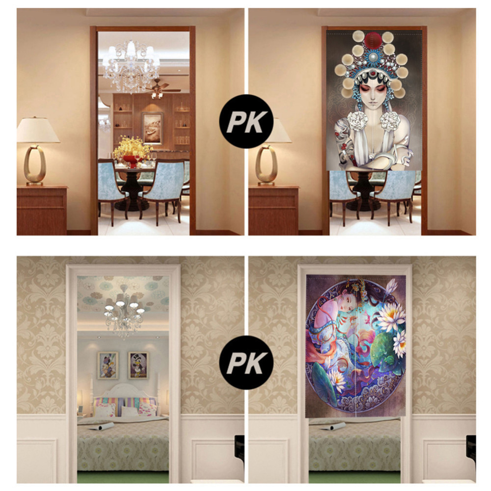 Noren Door Curtains Chinese Ancient Style Canvas Painting Screens For  Doorway Bedroom Kitchen Door Curtains With Adjustable Rod In Window Screens  From Home ...