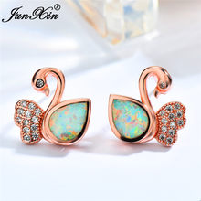 Boho Female Blue White Fire Opal Earrings 18KT Rose Gold Swan Animal Earrings Vintage Zircon Stone Stud Earrings For Women(China)