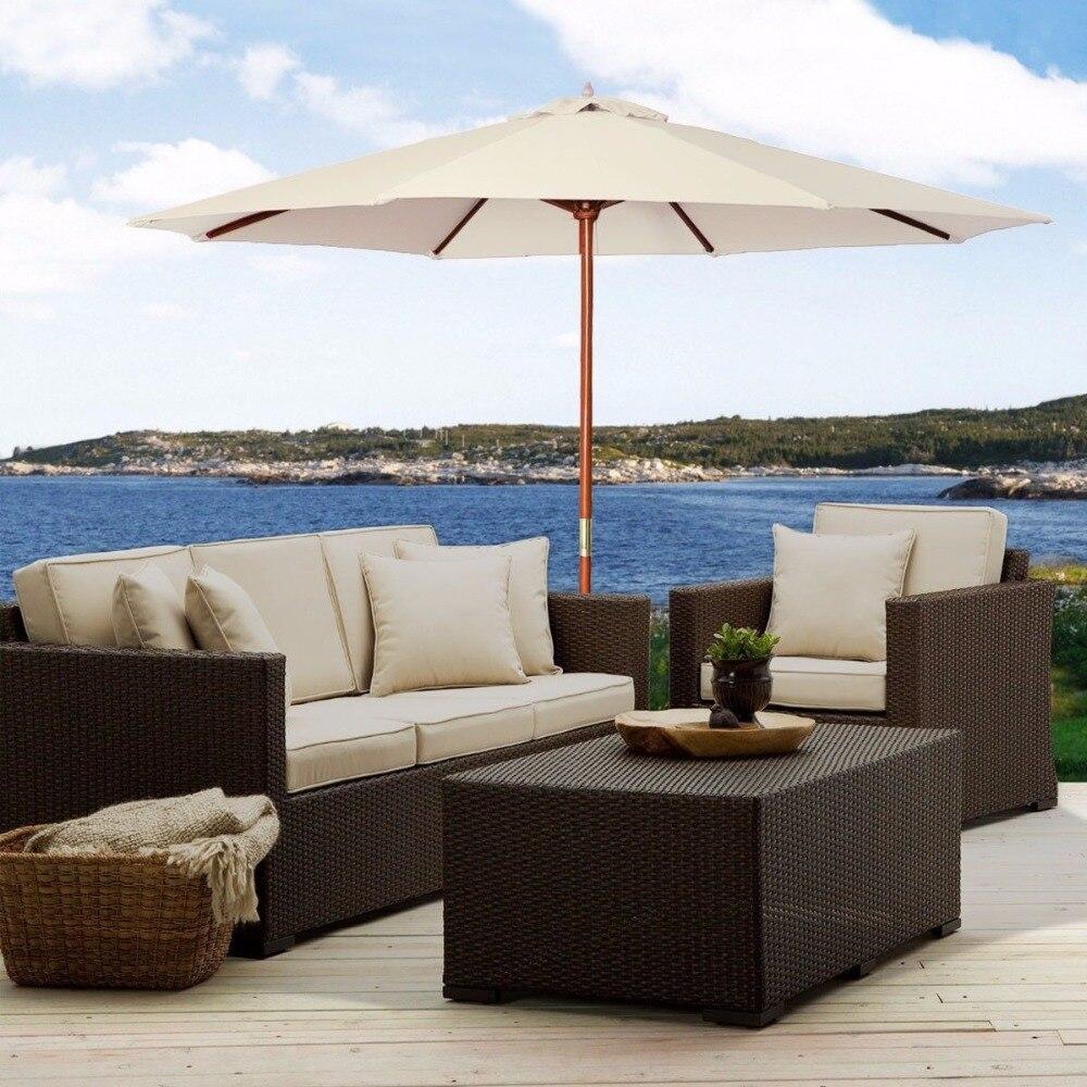 10Ft Wooden Patio Umbrella Sun Shade Wood Pole Outdoor Beach Cafe Garden  Beige OP2227 10SA