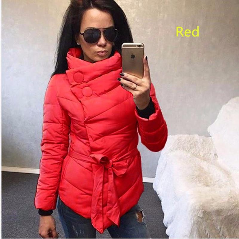 Winter Quilted Jacket Women 2018 New Fashion Irregular Parka Women High Neck Button Belt Coat Female Short Outerwear Overcoat