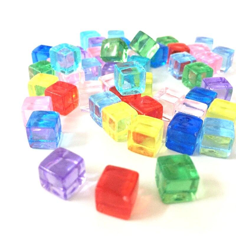 50 шт./компл. 13 цветов, 8 мм Прозрачный квадратный угол разноцветные Кристальные кости шахматная фигура под прямым углом сито для игра-головол...