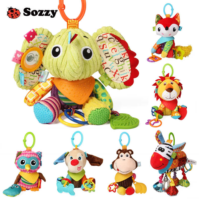 Sozzy Lovely Plush Stuffed Animals Textured Soft Bed Crib Stroller Hanging Decor Activity Game Fun Baby Toys for Children Mobile