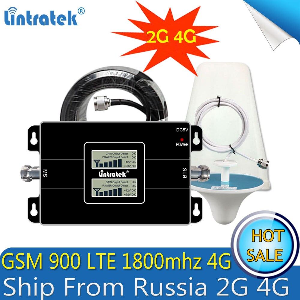 2017 Lintratek double LCD affiche GSM 900 4G LTE 1800 répéteur GSM 1800 mhz amplificateur de Signal Mobile 65dB double bande répétitrice celulaire - 2