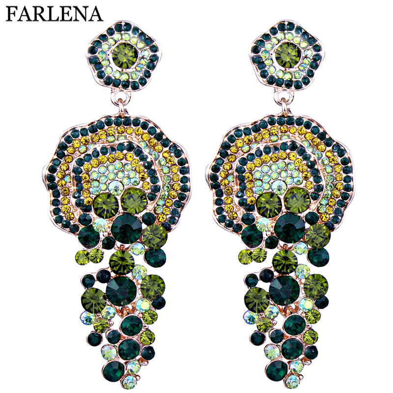 FARLENA Jewelry Luxury Full Crystal Rhinestone Drop Earrings 2018 Grandes pendientes largos para mujeres Accesorios para banquetes de boda ER038