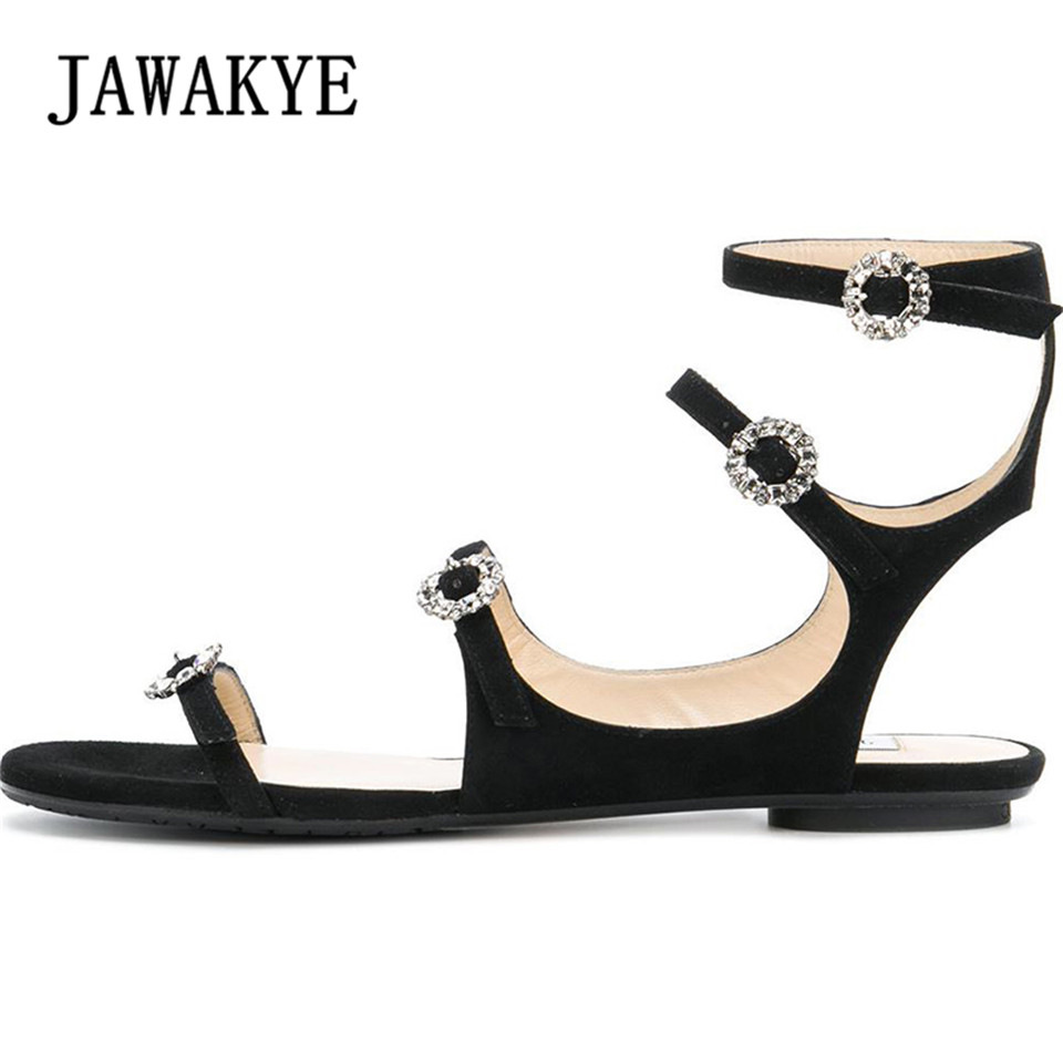 2018 New Women Flat Sandals Four Thin straps Rhinestone Ankle Buckle Strap Rome Gladiator Sandals Sexy Summer Flat Shoes Women new summer fashion sexy personality wings women sandals buckle casual gladiator ankle strap flat shoes woman size 35 41