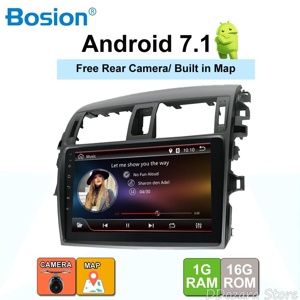 2 din Android 7.1 voiture lecteur dvd gps pour Toyota Corolla 2007 2008 2009 2010 2011 9 ''autoradio stéréo usb carte caméra