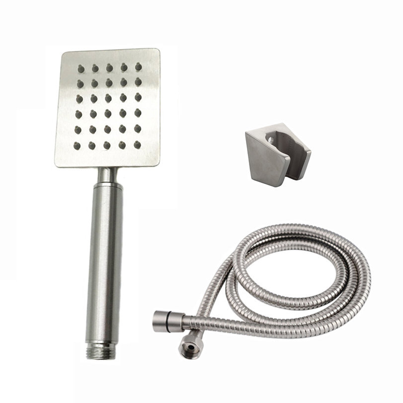 Temkunes Hand Hold Square Shower Head Hose Holder Brushed Stainless Steel SUS304 Bathroom Accessories