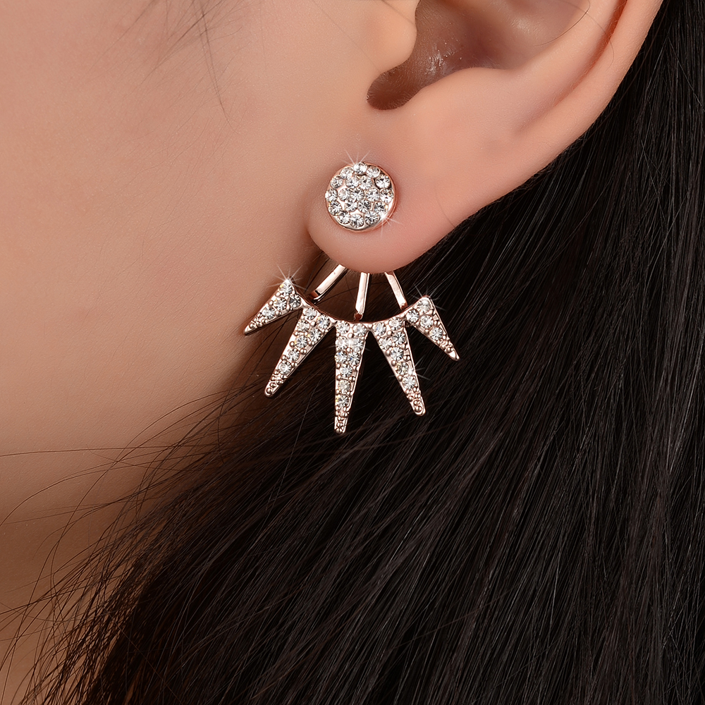 High Quality Maxi Full Crystal Geometric Ear Jacket Earring For Women Gold  Color Front Back Double