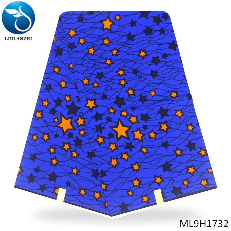 LIULANZHI royal blue Dutch wax fabrics african wax fabric 2019 high quality dutch wax batik fabric 6yards ML9H1728 ML9H1749 in Fabric from Home Garden