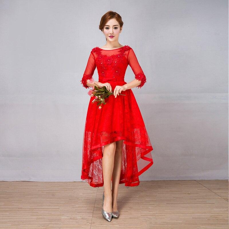 U-SWEAR 2019 New Arrival Women Red   Bridesmaid     Dress   Flower Appliqued High Waist Lace Backless High Low   Bridesmaid     Dress