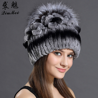 Winter 2016 Russian Beniees Real Rabbit Fur With Fox Fur Luxury Ball Floral Design Caps For
