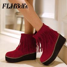 18c6627a86755 2018 nuevas mujeres planas de los talones franja helada botas damas negro  rojo Beige Nubuck borla