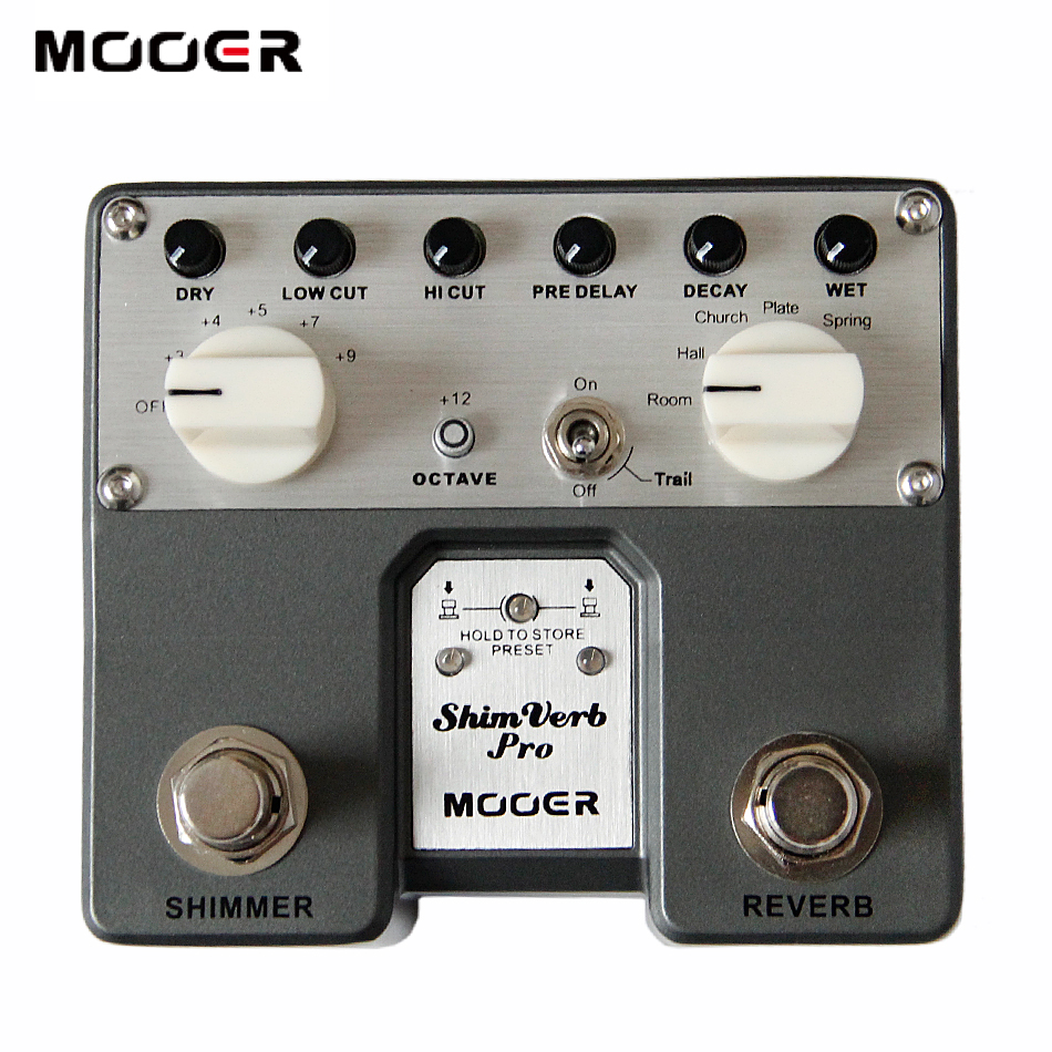 MOOER Shimverb Pro Digital Reverb Pedal Electric Guitar Effects provides 5 different Reverb effects