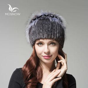 Image 1 - נשים של אמיתי מינק פרווה כובע נשי חורף רקס ארנב עלה פרח אלגנטי יוקרה 2019 חם סרוג כובעי Skullies בימס