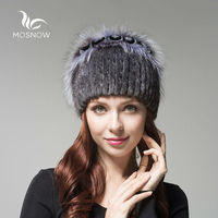 MOSNOW Women's Genuine Mink Fur Hat Female Winter Rex Rabbit Rose Flower Elegant Luxury 2018 Warm Knitted Hats Skullies Beanies