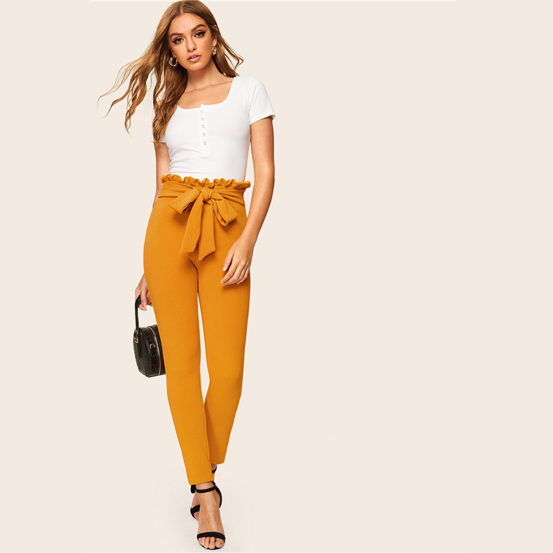 SHEIN Elegant Paperbag Waist Belted Detail Solid High Waist Pants Women Skinny Frill Trim Elastic Waist Spring Summer Pants 16