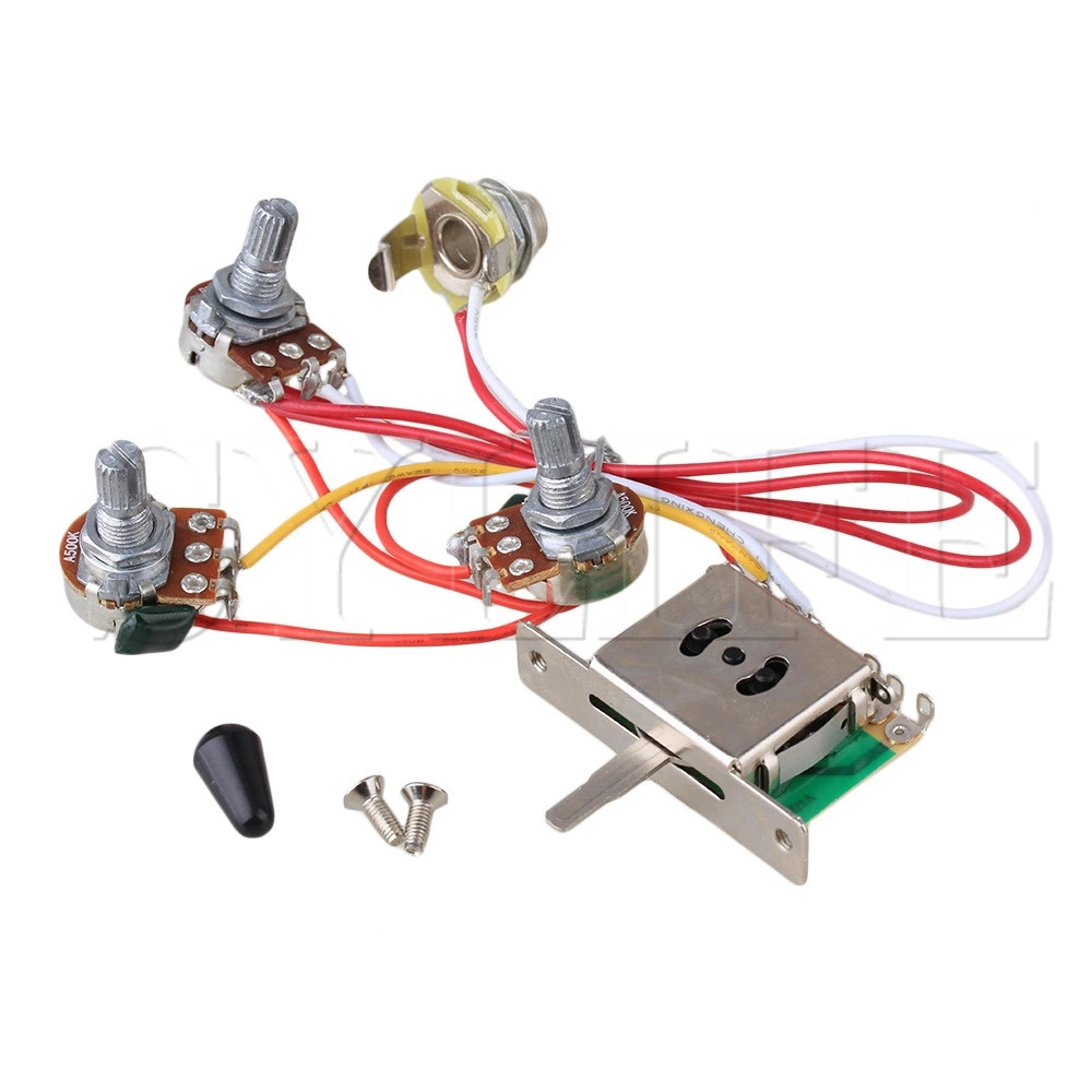 us $3 41 22% off guitar wiring harness 1v2t 1jack 3 500k pots 5way switch in guitar parts \u0026 accessories from sports \u0026 entertainment on aliexpress com  1v2t 1jack 3 500k pots 5way switch