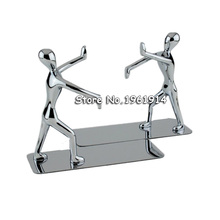 1 Pair/Lot Fashion Cool Metal Stainless Steel Human-Shaped Bookend for boys girls party gift