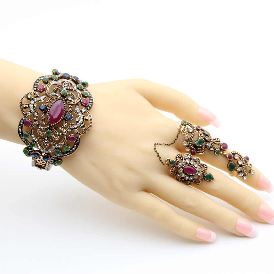 Ethnic Resin Antique Gold Color Jewelry Sets Flower Double Finger Rings Bangle Bracelet India Bijoux Wedding Festival Jewelry
