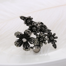 1 Piece Fashion Punk Women Wedding Party Jewelry Vintage Black Crystal Antique Silver Plated Big Flower Ring