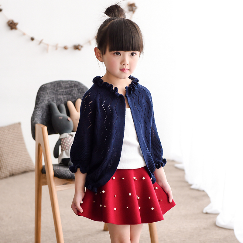 New 2018 summer autumn Baby Sweaters kids Hollow sun clothes children cotton knitted sweater coat baby girls sweater cardigan