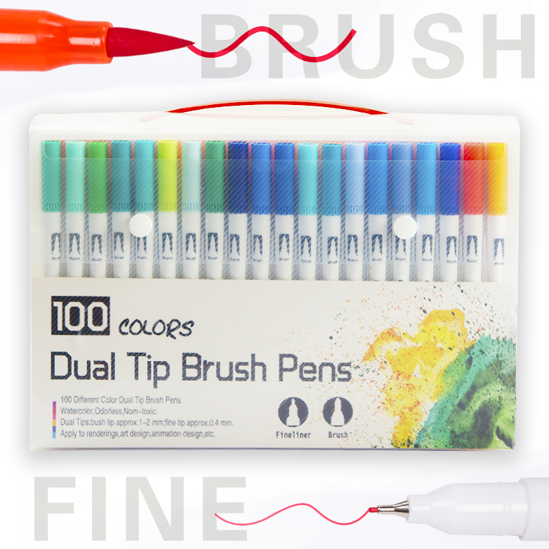 12/24/36/48/72/100 colores doble punta de pincel acuarela arte pluma ...
