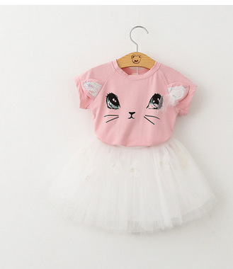 2017 Fashion Summer Children Clothing Sets Kids Girl Boutique Outfits Cartoon Cat Short Sleeve Cotton Tops Skirt Suits Clothes