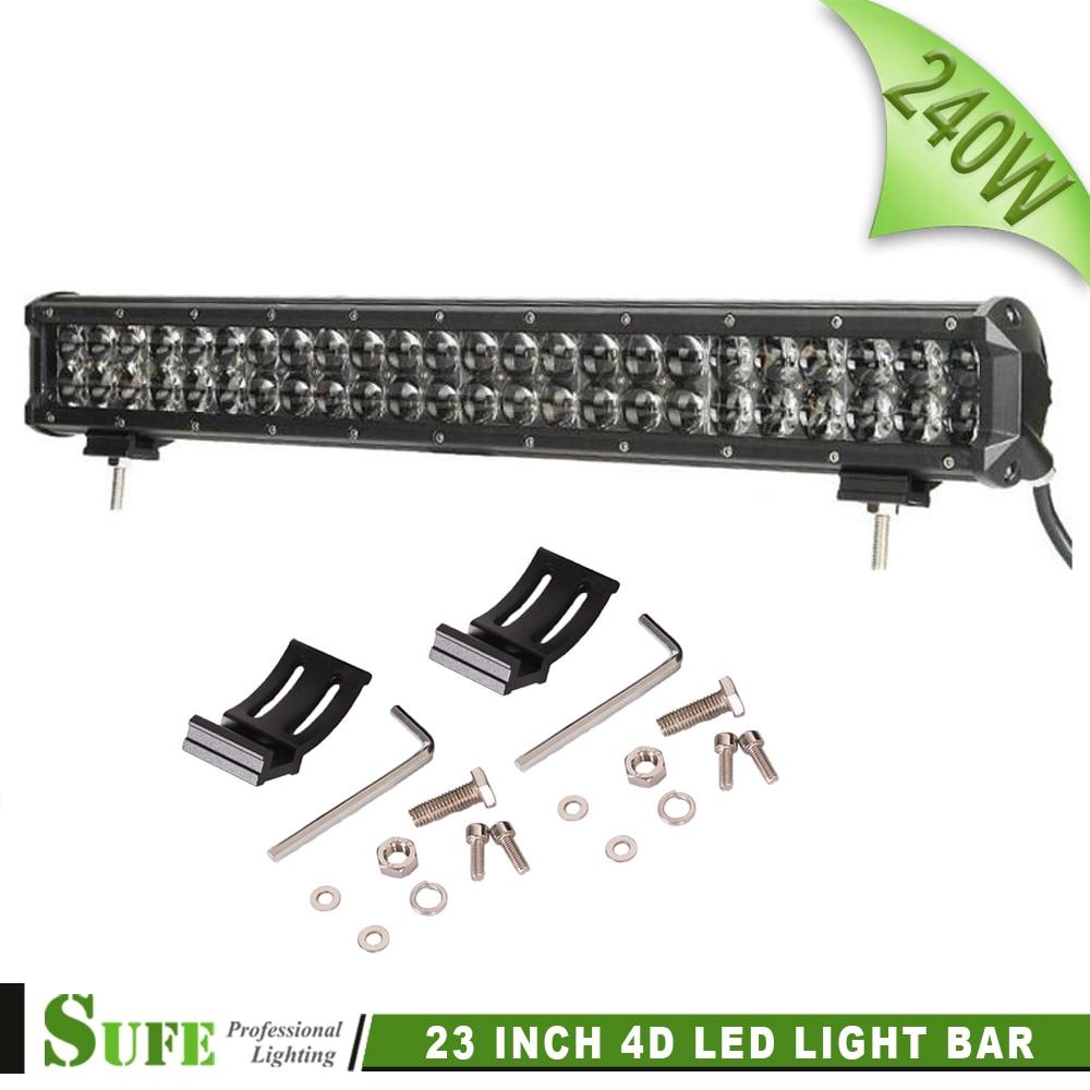 ФОТО SUFE 4D 240W 23 Inch LED Light Bar Off Road Work Lights Driving Lamp Combo Beam 12v 24v Truck SUV Boat 4X4 4WD ATV LED Bar 300W