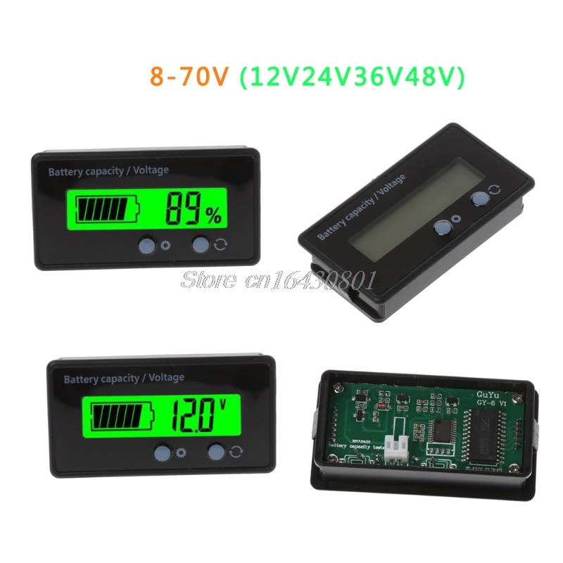 8-70V 12V 24V 36V 48V LCD Acid Lead Battery Capacity Voltmeter Voltage Tester