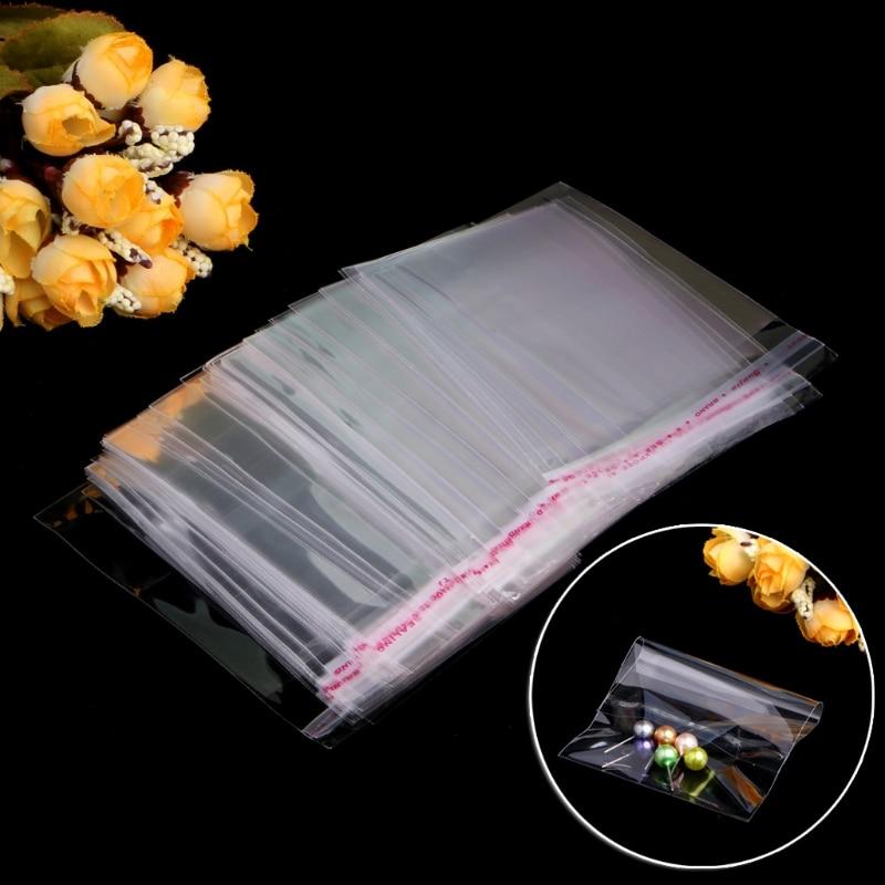 100 шт./пакет прозрачный пластик OPP самоклеющиеся уплотнения сумка полиэтиленовый мешочек на молнии сумки ювелирные изделия упаковка и дисплей