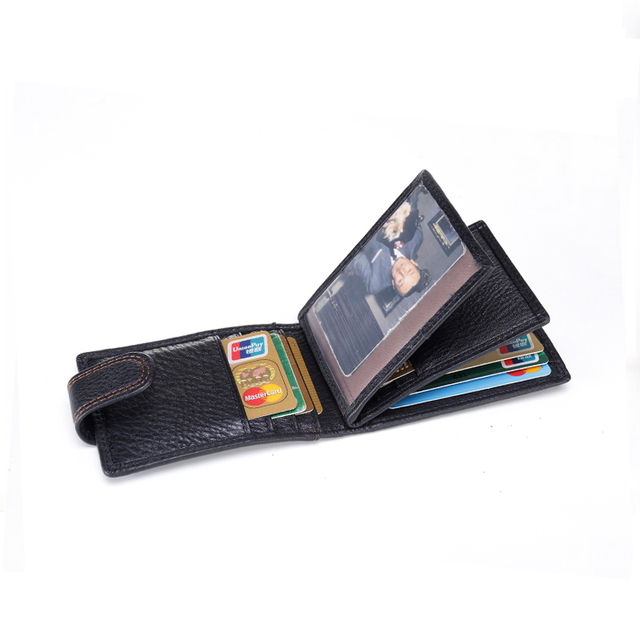 New Sale Fashion Men Hasp Cover Credit Card Bags Leather Purse Bank 16 ID Card Case Business Holders Card Black  Wallets K110