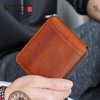 AETOO Small wallet men mini leather zipper Cross Men's wallet short youth Korean version personality handmade cowhide Money Clip