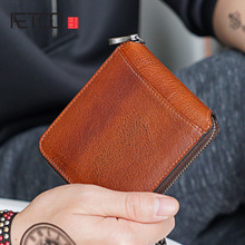 AETOO Small wallet men mini leather zipper Cross Mens short youth Korean version personality handmade cowhide Money Clip