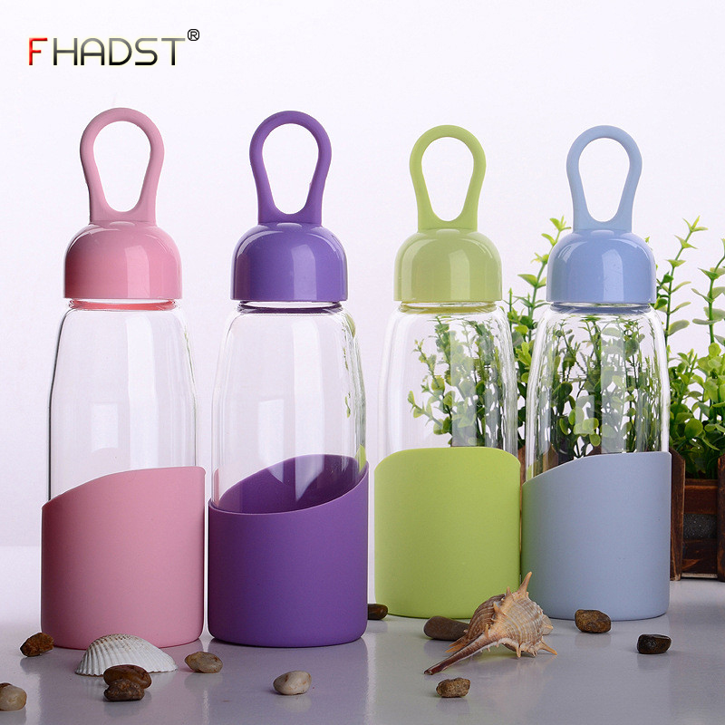 320/420ML 2018 HOT Glass Water Bottle Silicone Anti-scald Portable Sport Leak Proof Drinking Water For High Quality Bottle New