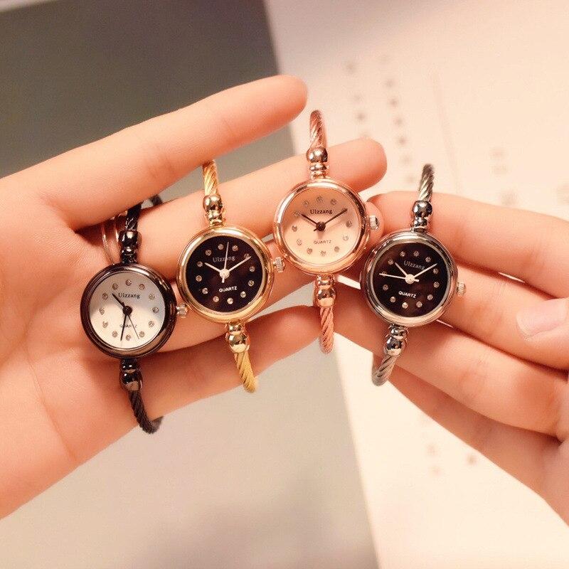 Diamond Luxury Steel Wire Bangle Bracelet Watches Women Fashion Brand Small Vintage Design Ladies Wristwatches Female Clock