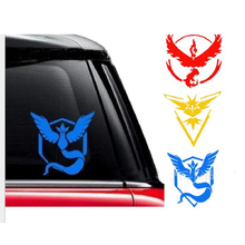 13.5*13CM Pokemon GO Team Yellow Instinct Vinyl Decal Car Sticker Zapdos Legendary Bird Logo Black/Silver Red C 2089