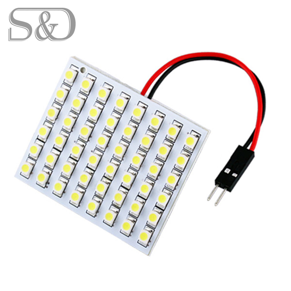 цена на 48 SMD Warm white Panel led car T10 BA9S Festoon Dome Interior Lamp lights for w5w c5w t4w led bulbs Auto Lamp 12V