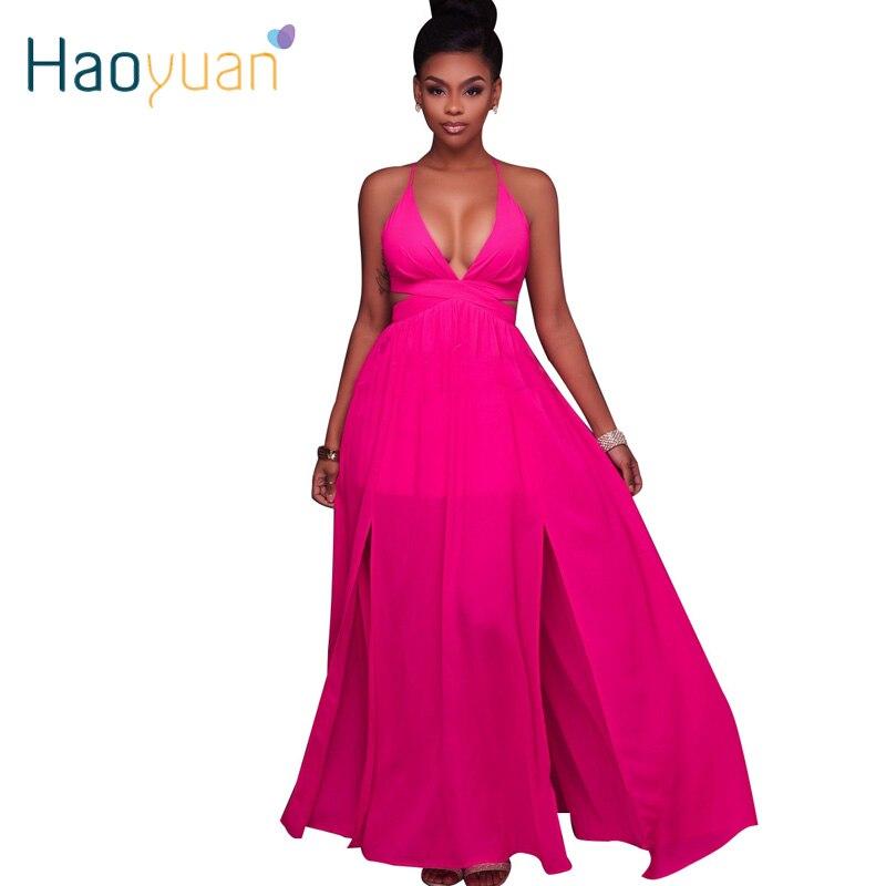 HAOYUAN Gasa Elegante Atractiva Backless Largo Del Vestido de ...
