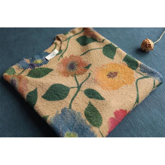 QPFJQD damskie kwiaty sweter z nadrukiem 2019 Mori dziewczyna zima Top kobiety z długim rękawem z dekoltem w kształcie litery o bawełna swetry jesień wiosna Pullove