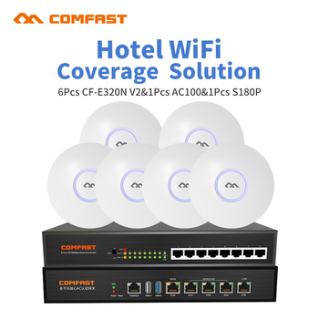 DHL For Hotel Restaurant Wifi Coverage And Seamless Wifi Management Router 6pc indoor ap 1 AC router 1 8port fast POE switch