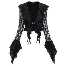 black Gothic Women coat Vintage style Steampunk Renaissance Frilled Hooded jacket solid color ruffle chiffon Lace Coat Autumn