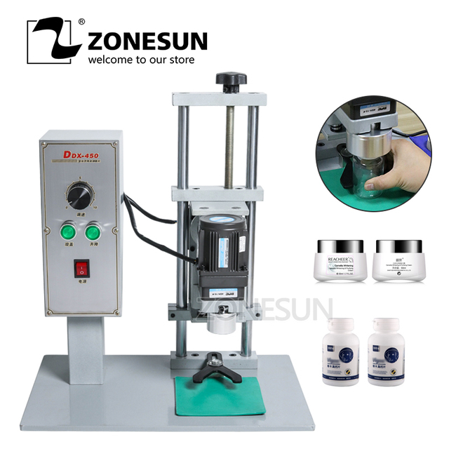 ZONESUN Semi-Auto Bottle Cap Screw Capping Machine Bottle Capper Sealer Electric Capping Tool Cola Soft Drink Bottle Chuck 10-50
