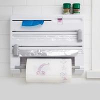 Useful 6 in 1 Kitchen Refrigerator Cling Film Storage Rack Shelf Aluminum Film Wrap Cutter Wall Hanging Hogard MY1618