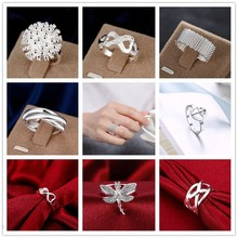 Big Promotion Wholesale 925 stamped silver plated Jewelry Peace/Dragonfly Silver Ring anillos de Prata Size 6 7 8 9 Woman Gift(China)