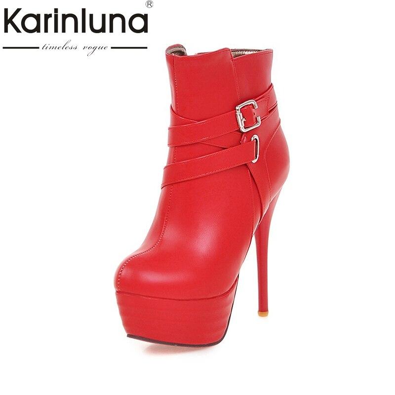 Karinluna 2018 Large Size 33-46 Platform Buckles Women Boots Woman Fashion Add Warm Plush Thin High Heel Party Ankle BootsKarinluna 2018 Large Size 33-46 Platform Buckles Women Boots Woman Fashion Add Warm Plush Thin High Heel Party Ankle Boots