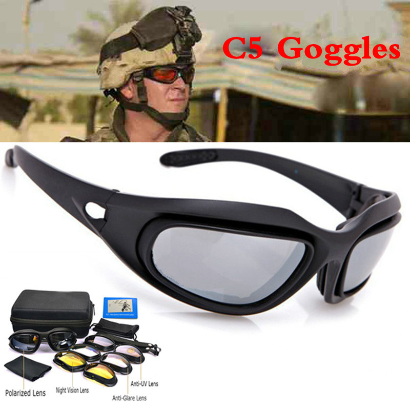 FS C5 Hunting Safety Glasses 2015 Tactical Army Goggles Outdoor Wargame Sport Military glasses 100%UV400 protection 4 lenses
