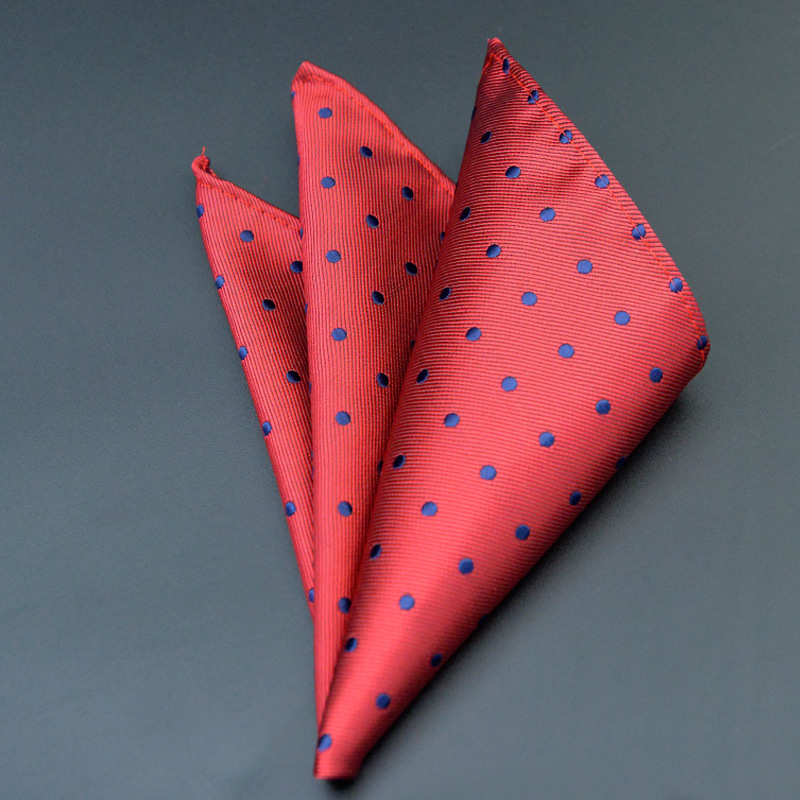 Mantieqingway Dots Handkerchiefs For Men Suit Polyester Red Black Blue Dot Men Fashion Paisley Pocket Square Tie Handkerchief