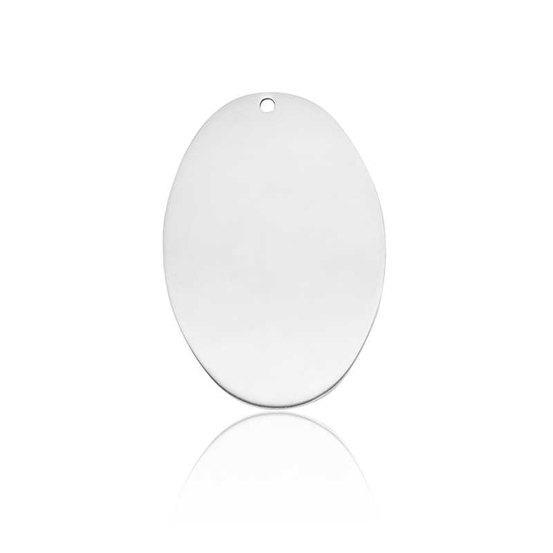 Blank Oval Shape Stainless Steel Mirror Polish Charms Men Women Pendant with Beads Chain for DIY Engraved Necklaces Keychains